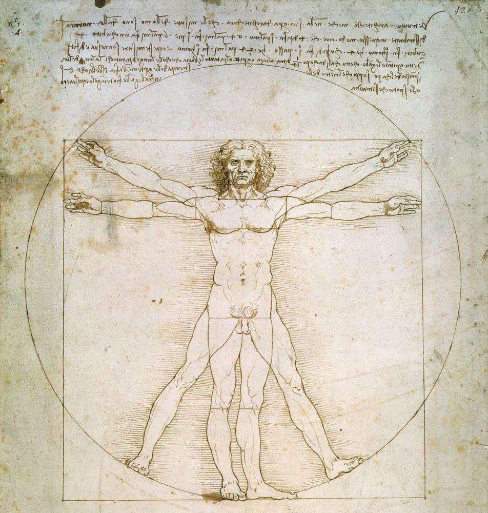 """Рисунок """"Витрувианский человек"""", 1490 г., Леонардо да Винчи"""