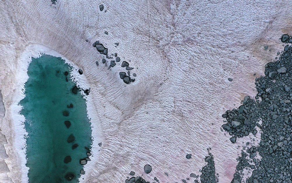 Из-за глобального потепления снег на итальянском горнолыжном курорте стал розовым